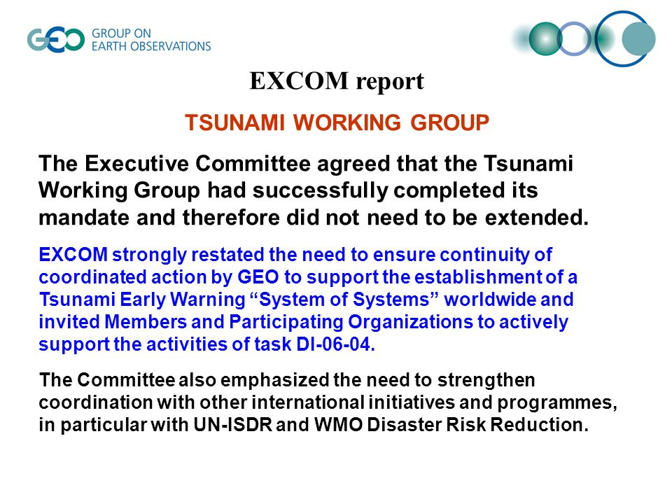 EXCOM report TSUNAMI WORKING GROUP The Executive Committee agreed that the Tsunami Working Group had successfully completed its mandate and therefore did not need to be extended.