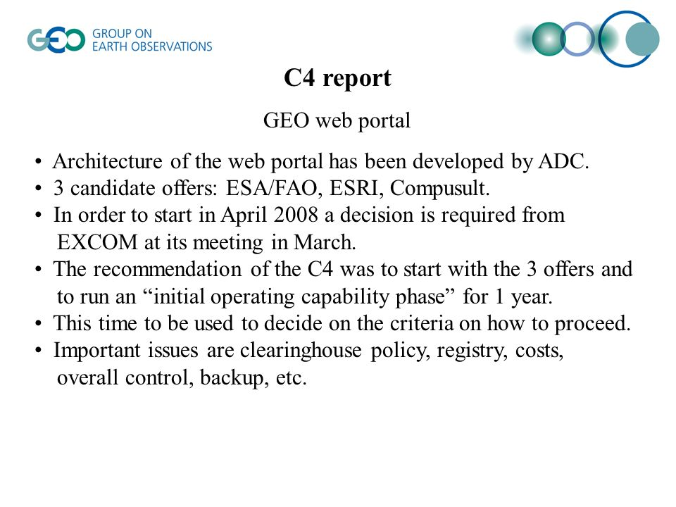 C4 report GEO web portal Architecture of the web portal has been developed by ADC.