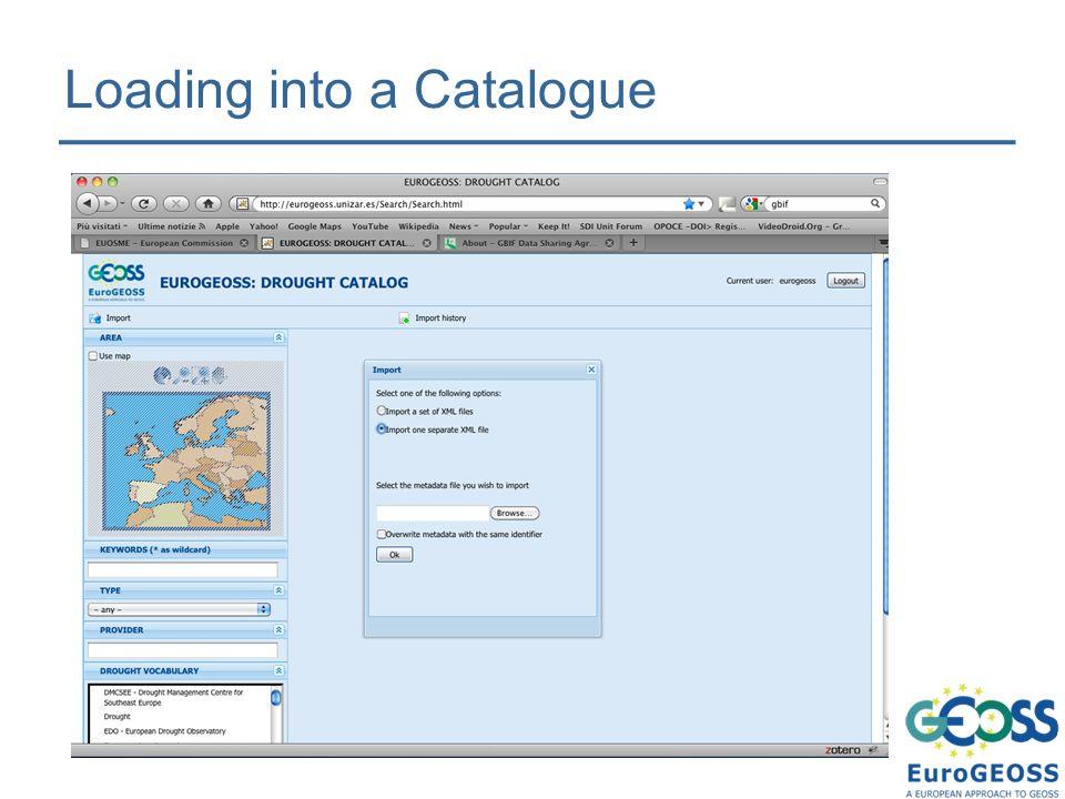 Loading into a Catalogue