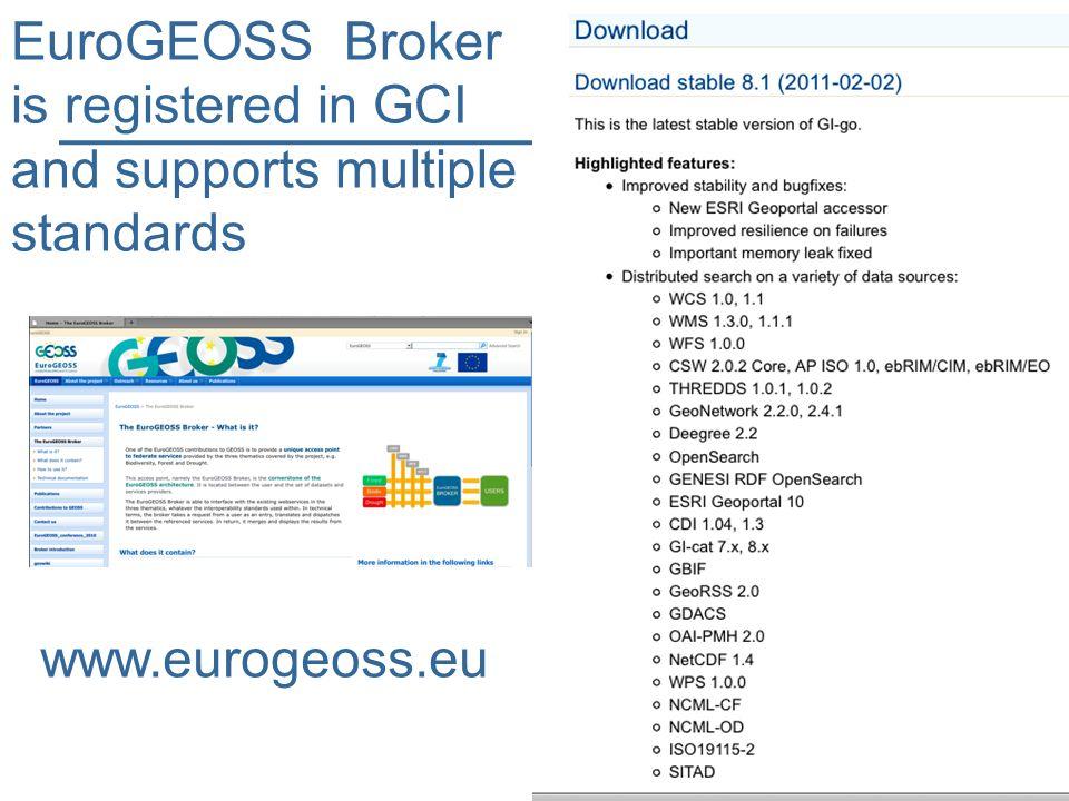 EuroGEOSS Broker is registered in GCI and supports multiple standards www.eurogeoss.eu
