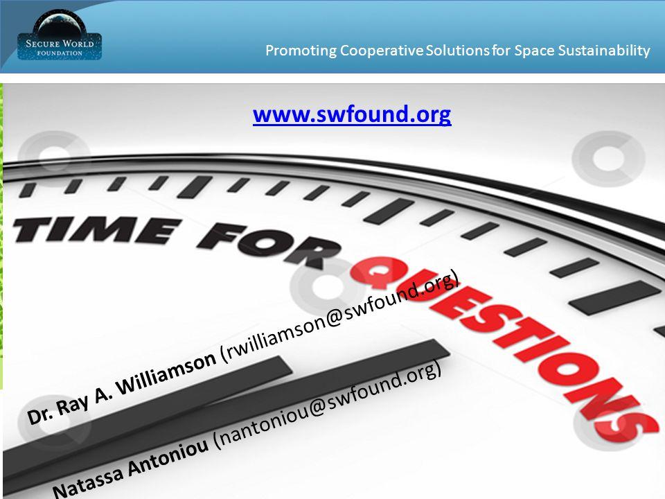 Promoting Cooperative Solutions for Space Sustainability 30 Dr. Ray A. Williamson (rwilliamson@swfound.org) Natassa Antoniou (nantoniou@swfound.org) w