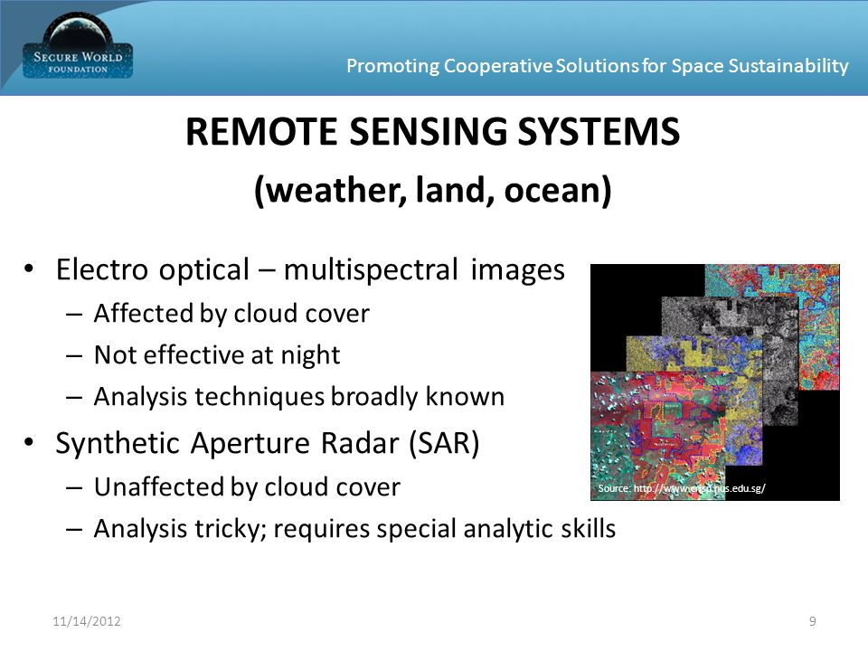 Promoting Cooperative Solutions for Space Sustainability REMOTE SENSING SYSTEMS (weather, land, ocean) Electro optical – multispectral images – Affect