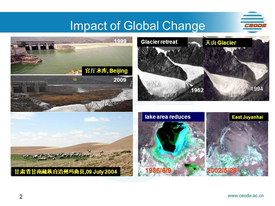 Impact of Global Change 2 Snow reduce Island Disappear Glacier retreat lake area reduces East Juyanhai 1986/6/92002/5/28 Prairie degeneration, Beijing Glacier,09 July