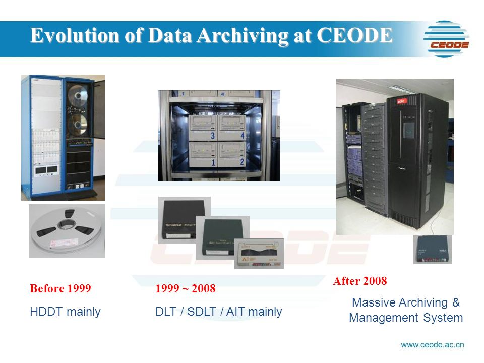 Before 1999 HDDT mainly Evolution of Data Archiving at CEODE 1999 ~ 2008 DLT / SDLT / AIT mainly After 2008 Massive Archiving & Management System