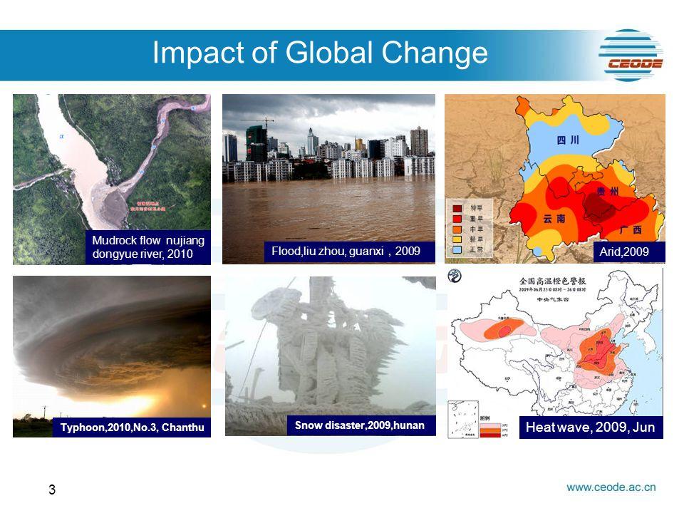 Impact of Global Change 3 Mudrock flow nujiang dongyue river, 2010 Flood,liu zhou, guanxi 2009 Arid,2009 Typhoon,2010,No.3, Chanthu Snow disaster,2009,hunan Heat wave, 2009, Jun