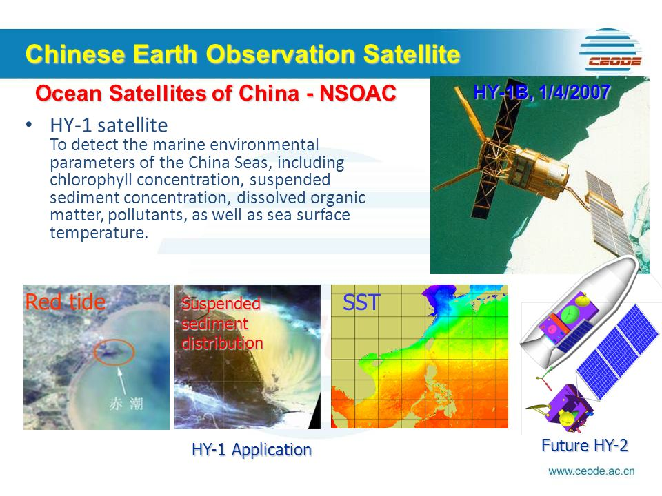 HY-1 satellite To detect the marine environmental parameters of the China Seas, including chlorophyll concentration, suspended sediment concentration, dissolved organic matter, pollutants, as well as sea surface temperature.