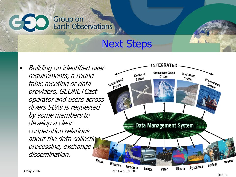 3 May 2006 © GEO Secretariat slide 11 Next Steps Building on identified user requirements, a round table meeting of data providers, GEONETCast operator and users across divers SBAs is requested by some members to develop a clear cooperation relations about the data collection, processing, exchange and dissemination.