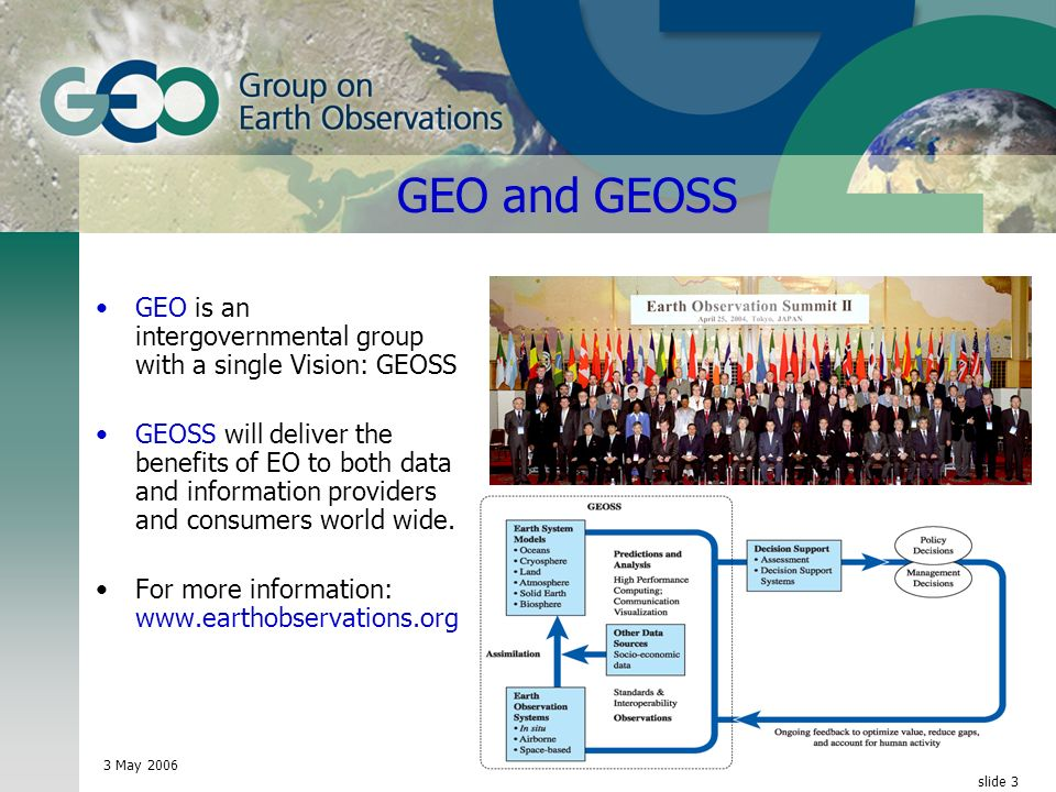 3 May 2006 © GEO Secretariat slide 3 GEO and GEOSS GEO is an intergovernmental group with a single Vision: GEOSS GEOSS will deliver the benefits of EO to both data and information providers and consumers world wide.