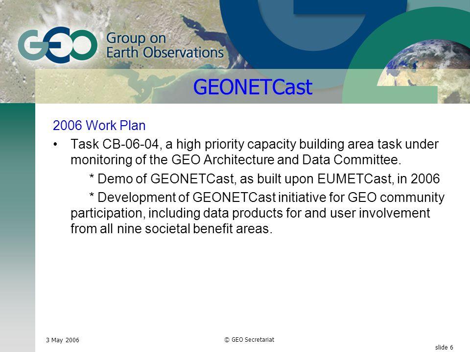 3 May 2006 © GEO Secretariat slide 17 Other Issues 2007-2009 Work Plan Development.