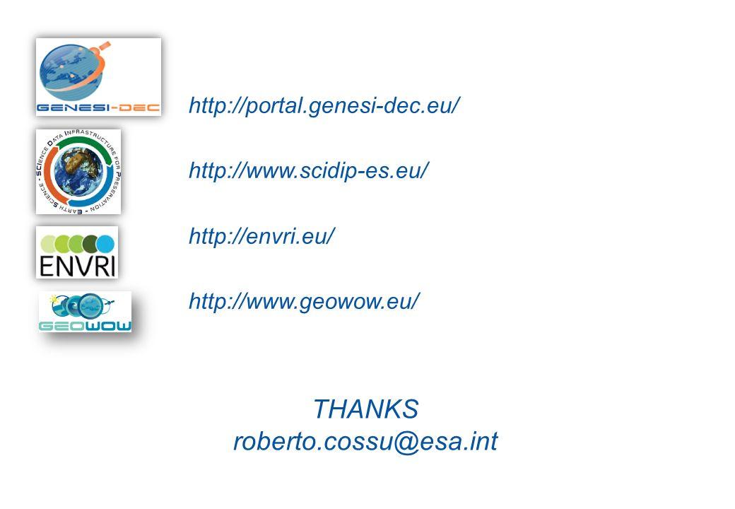 http://portal.genesi-dec.eu/ http://www.scidip-es.eu/ http://envri.eu/ http://www.geowow.eu/ THANKS roberto.cossu@esa.int