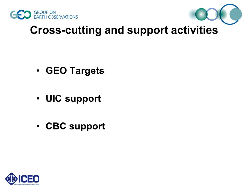 Cross-cutting and support activities GEO Targets UIC support CBC support
