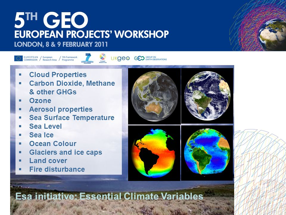 Cloud Properties Carbon Dioxide, Methane & other GHGs Ozone Aerosol properties Sea Surface Temperature Sea Level Sea Ice Ocean Colour Glaciers and ice