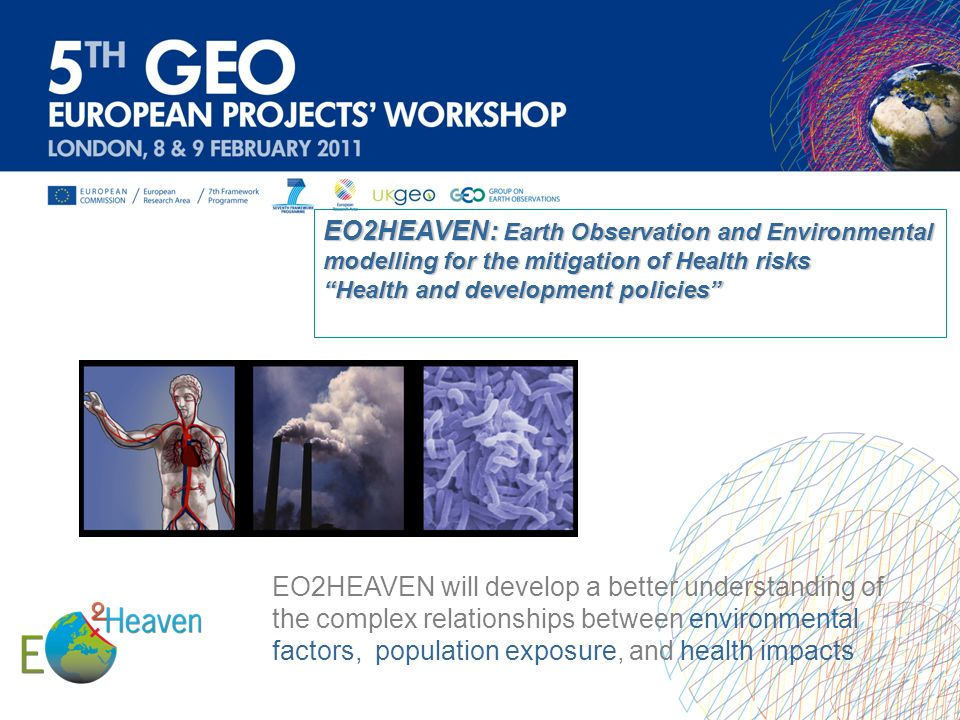 EO2HEAVEN will develop a better understanding of the complex relationships between environmental factors, population exposure, and health impacts EO2H