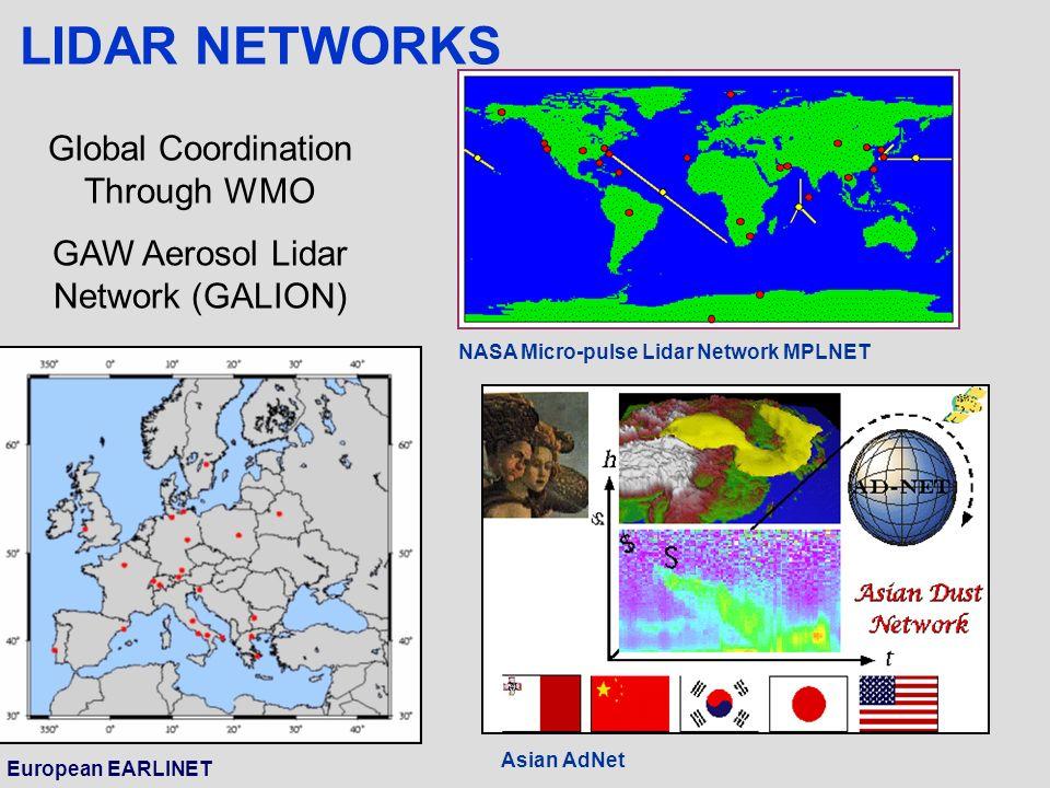 European EARLINET Asian AdNet NASA Micro-pulse Lidar Network MPLNET LIDAR NETWORKS Global Coordination Through WMO GAW Aerosol Lidar Network (GALION)
