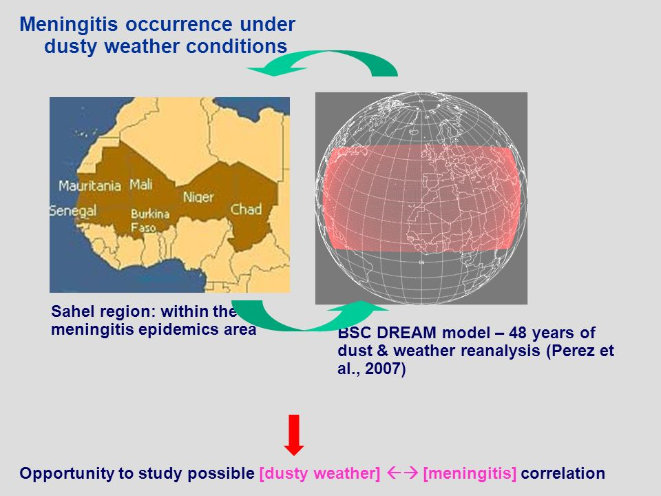 Meningitis occurrence under dusty weather conditions Sahel region: within the meningitis epidemics area BSC DREAM model – 48 years of dust & weather reanalysis (Perez et al., 2007) Opportunity to study possible [dusty weather] [meningitis] correlation