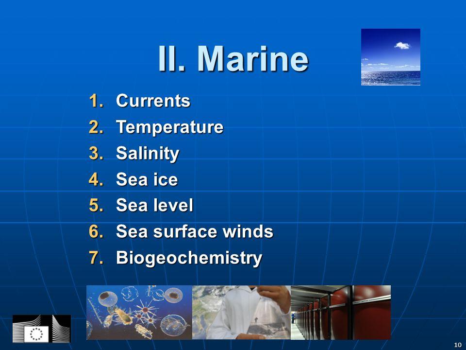 10 II. Marine 1.Currents 2.Temperature 3.Salinity 4.Sea ice 5.Sea level 6.Sea surface winds 7.Biogeochemistry