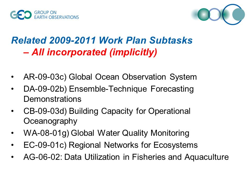 Related 2009-2011 Work Plan Subtasks – All incorporated (implicitly) AR-09-03c) Global Ocean Observation System DA-09-02b) Ensemble-Technique Forecasting Demonstrations CB-09-03d) Building Capacity for Operational Oceanography WA-08-01g) Global Water Quality Monitoring EC-09-01c) Regional Networks for Ecosystems AG-06-02: Data Utilization in Fisheries and Aquaculture