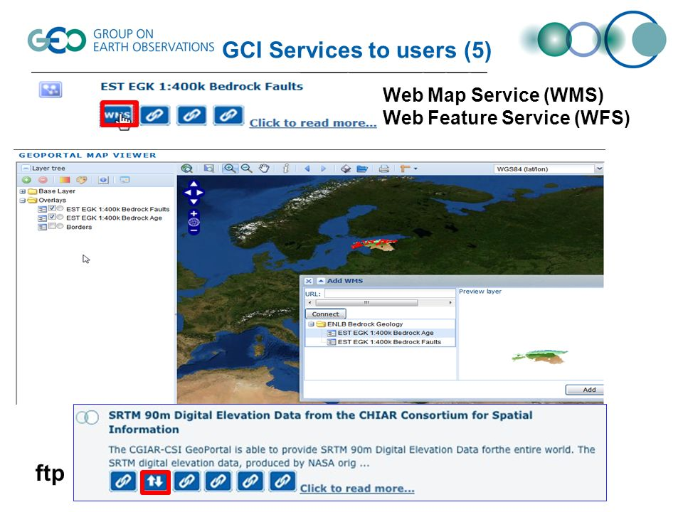 Datasets Access Collection Discovery through the GEO Web Portal and Data Access Broker Access to data products within discovered collections in a 2 nd window through GENESI