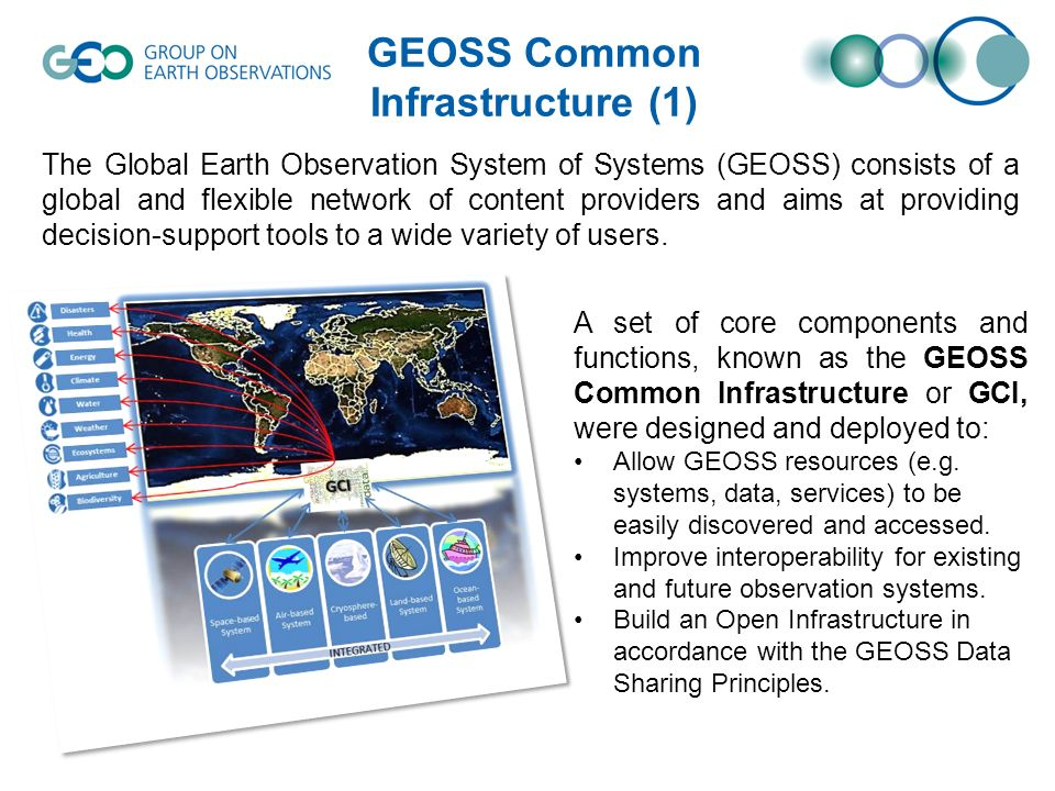 GEOSS Common Infrastructure (1) The Global Earth Observation System of Systems (GEOSS) consists of a global and flexible network of content providers and aims at providing decision-support tools to a wide variety of users.