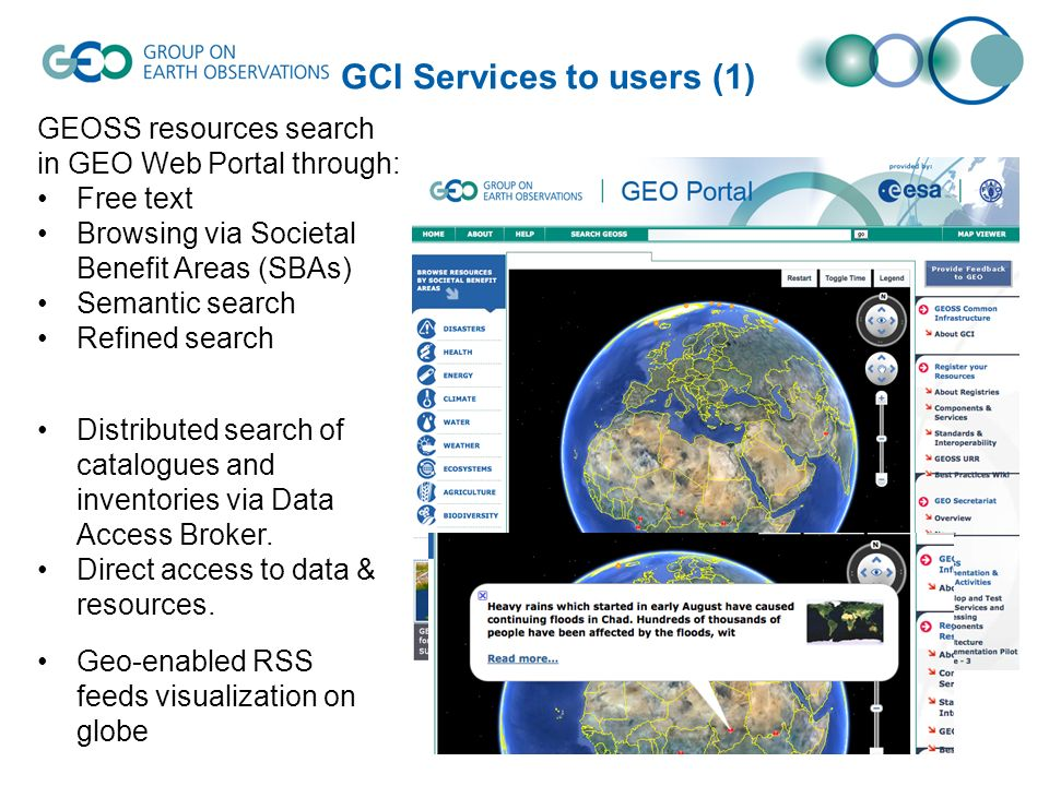 GCI Services to users (2) Search results display according to resources categories.