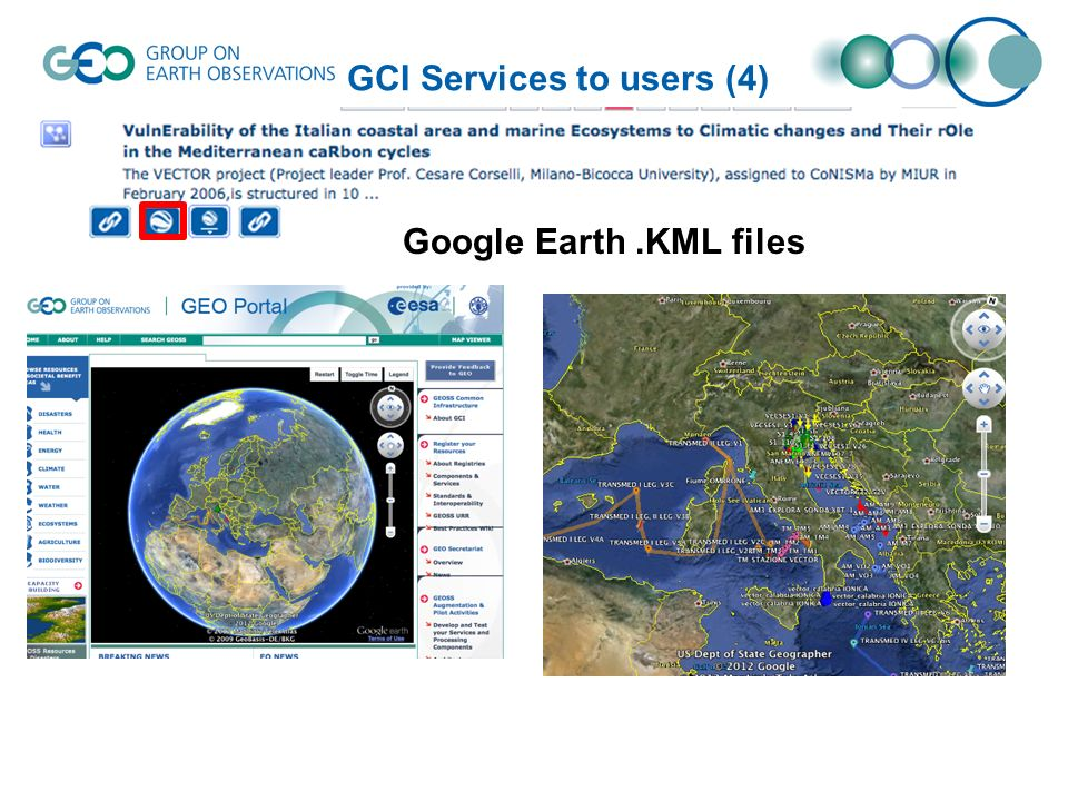 GCI Services to users (5) Web Map Service (WMS) Web Feature Service (WFS) ftp