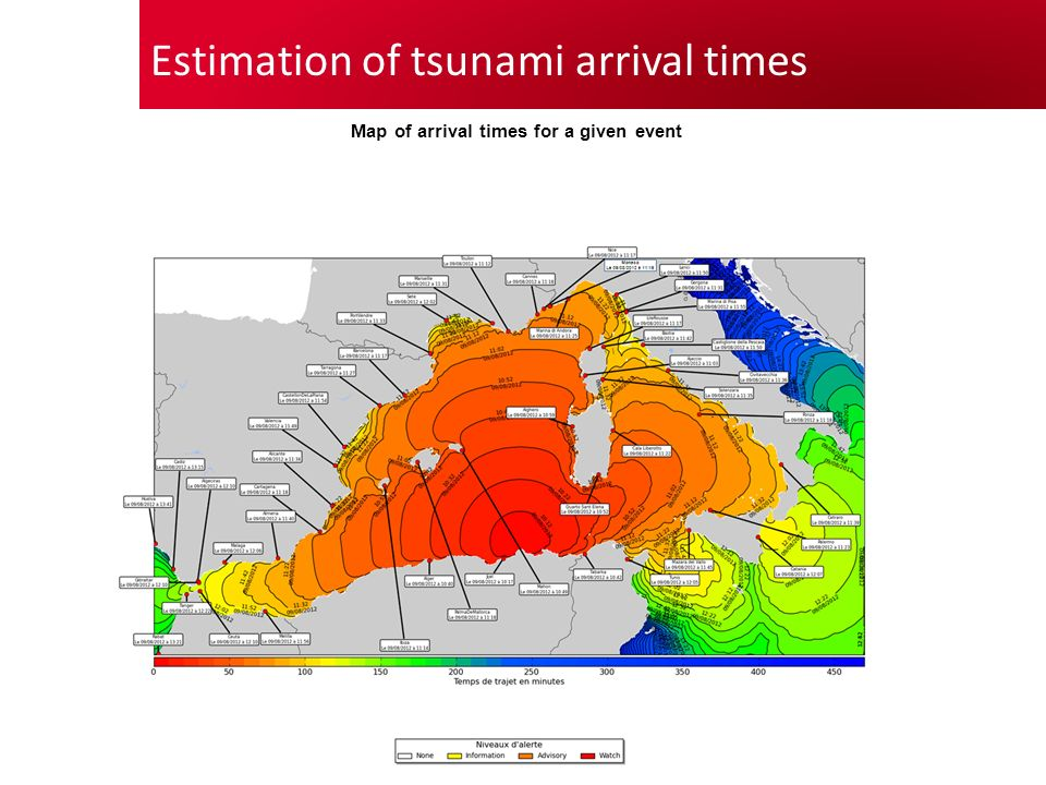 Estimation of tsunami arrival times Map of arrival times for a given event