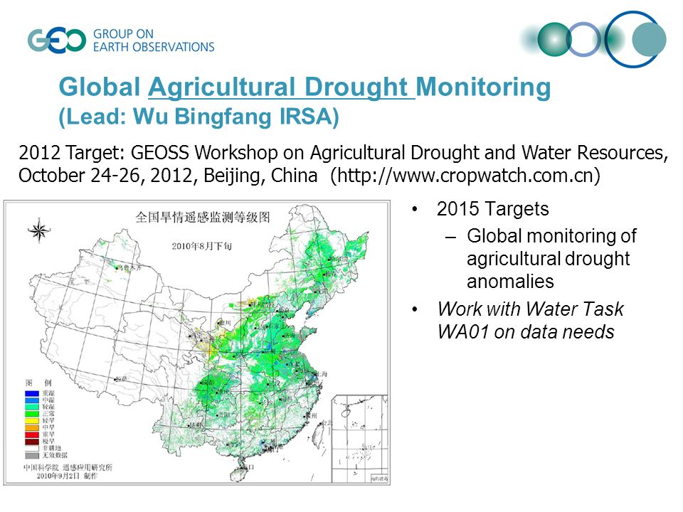 Global Agricultural Drought Monitoring (Lead: Wu Bingfang IRSA) 2015 Targets –Global monitoring of agricultural drought anomalies Work with Water Task WA01 on data needs 2012 Target: GEOSS Workshop on Agricultural Drought and Water Resources, October 24-26, 2012, Beijing, China (http://www.cropwatch.com.cn)