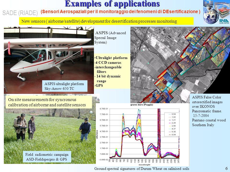 6 (Sensori Aerospaziali per il monitoraggio dei fenomeni di DEsertificazione ) SADE (RIADE) New sensors ( airborne/satellite) development for desertif