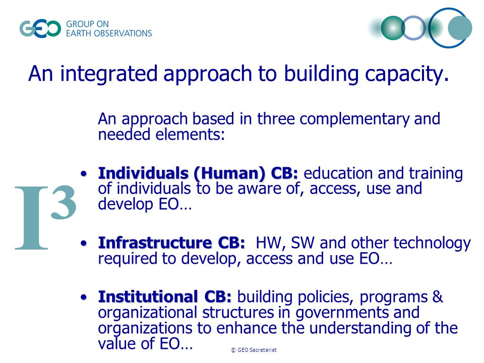 © GEO Secretariat An integrated approach to building capacity. An approach based in three complementary and needed elements: Individuals (Human) CB:In