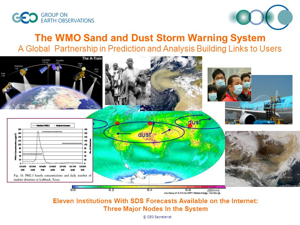 © GEO Secretariat The WMO Sand and Dust Storm Warning System A Global Partnership in Prediction and Analysis Building Links to Users Eleven Institutio