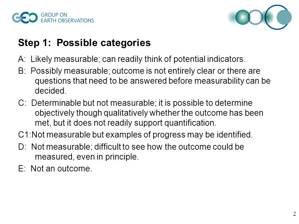 2 Step 1: Possible categories A: Likely measurable; can readily think of potential indicators.