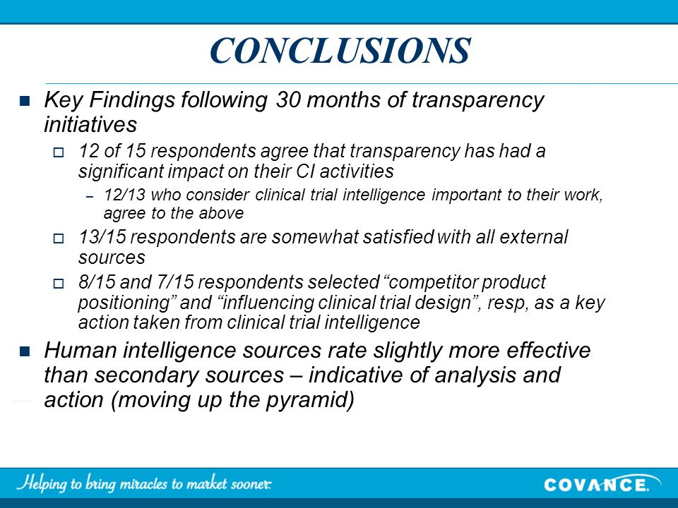 CONCLUSIONS Key Findings following 30 months of transparency initiatives 12 of 15 respondents agree that transparency has had a significant impact on