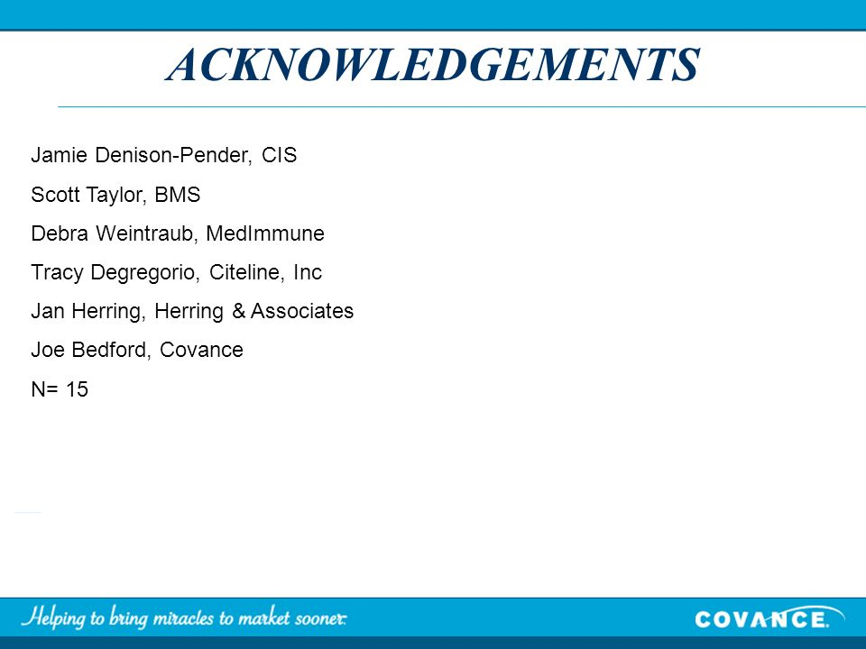 ACKNOWLEDGEMENTS Jamie Denison-Pender, CIS Scott Taylor, BMS Debra Weintraub, MedImmune Tracy Degregorio, Citeline, Inc Jan Herring, Herring & Associa