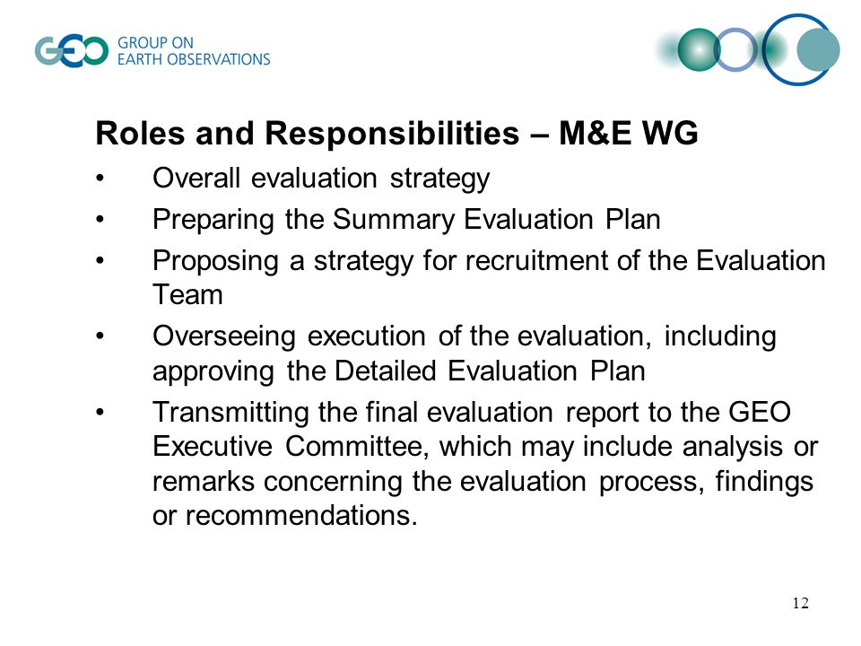 12 Roles and Responsibilities – M&E WG Overall evaluation strategy Preparing the Summary Evaluation Plan Proposing a strategy for recruitment of the E