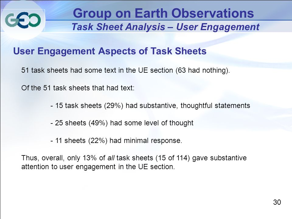 Group on Earth Observations Task Sheet Analysis – User Engagement User Engagement Aspects of Task Sheets 30 51 task sheets had some text in the UE section (63 had nothing).