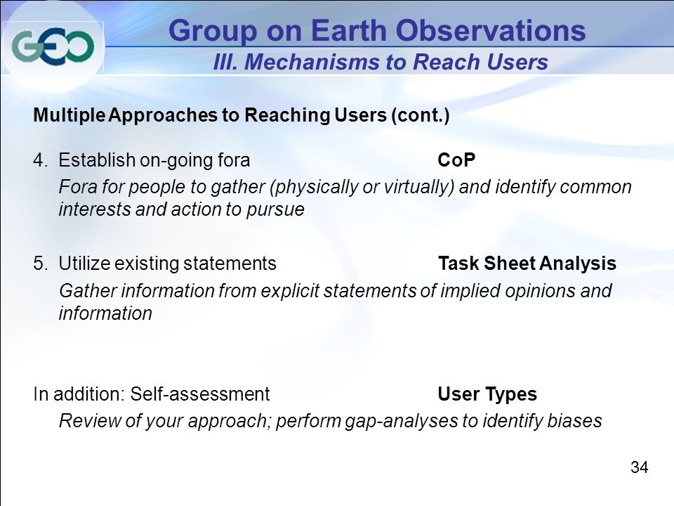 Group on Earth Observations III.