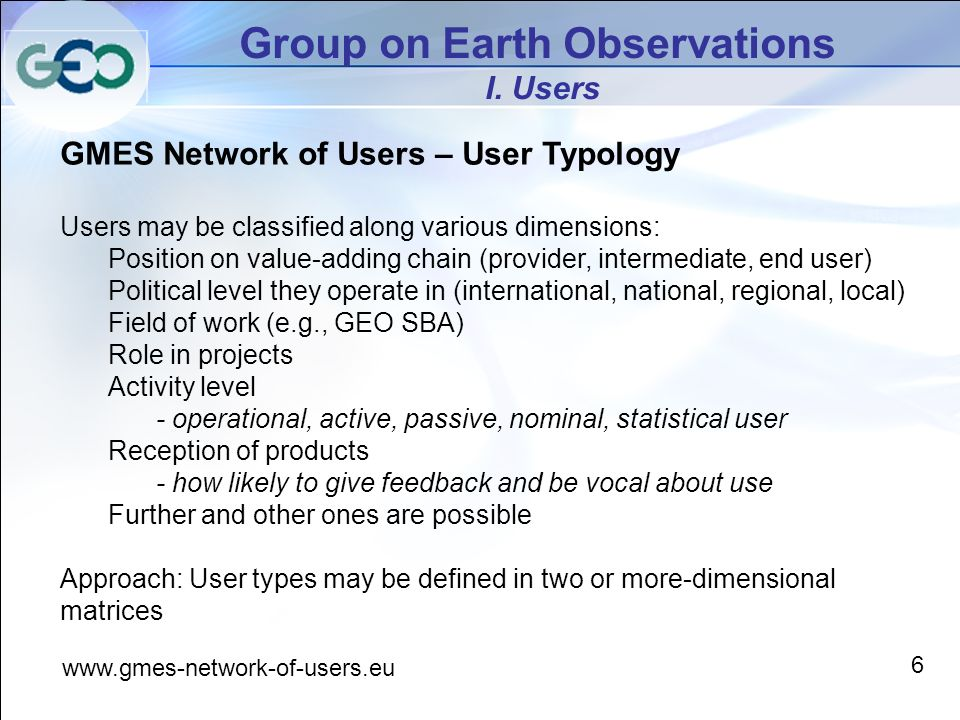 Group on Earth Observations I.