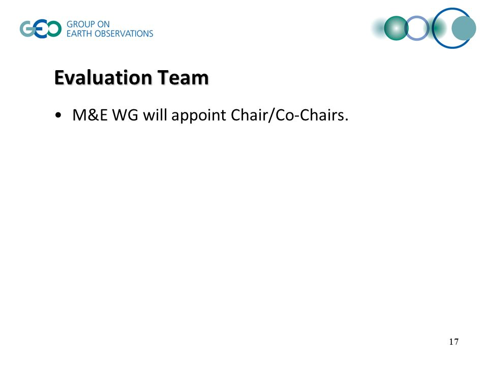 17 Evaluation Team M&E WG will appoint Chair/Co-Chairs. 17