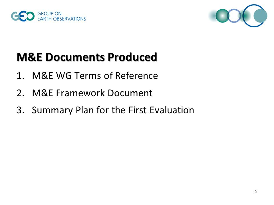 M&E Documents Produced 1.M&E WG Terms of Reference 2.M&E Framework Document 3.Summary Plan for the First Evaluation 5