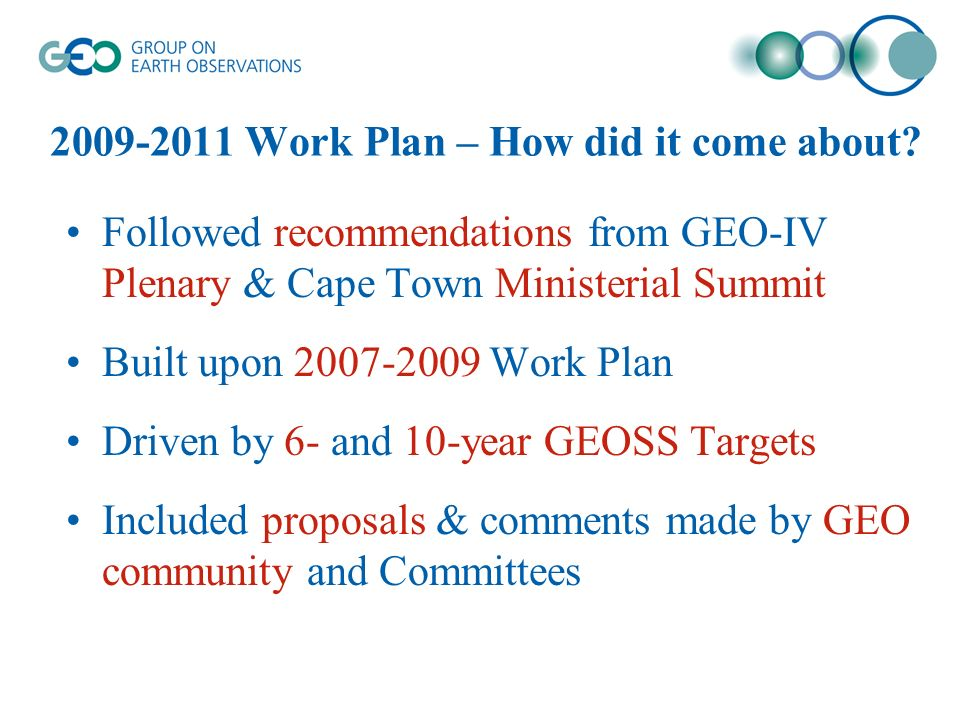 2009-2011 Work Plan – How did it come about.