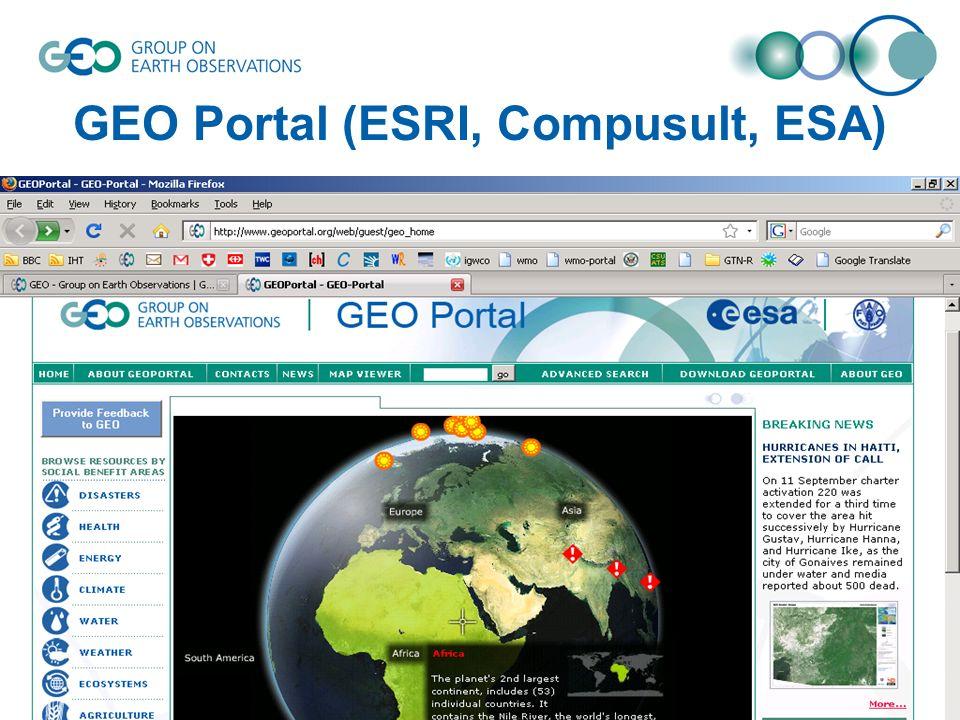 GEO Portal (ESRI, Compusult, ESA)