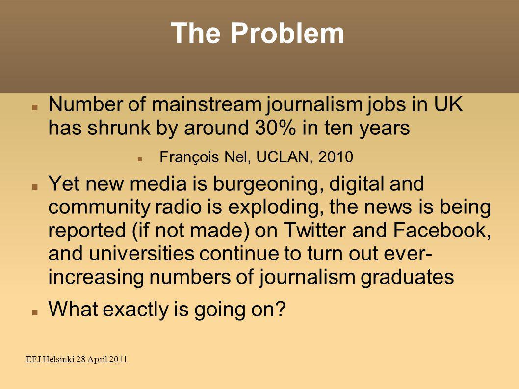 EFJ Helsinki 28 April 2011 The Problem Number of mainstream journalism jobs in UK has shrunk by around 30% in ten years François Nel, UCLAN, 2010 Yet new media is burgeoning, digital and community radio is exploding, the news is being reported (if not made) on Twitter and Facebook, and universities continue to turn out ever- increasing numbers of journalism graduates What exactly is going on?