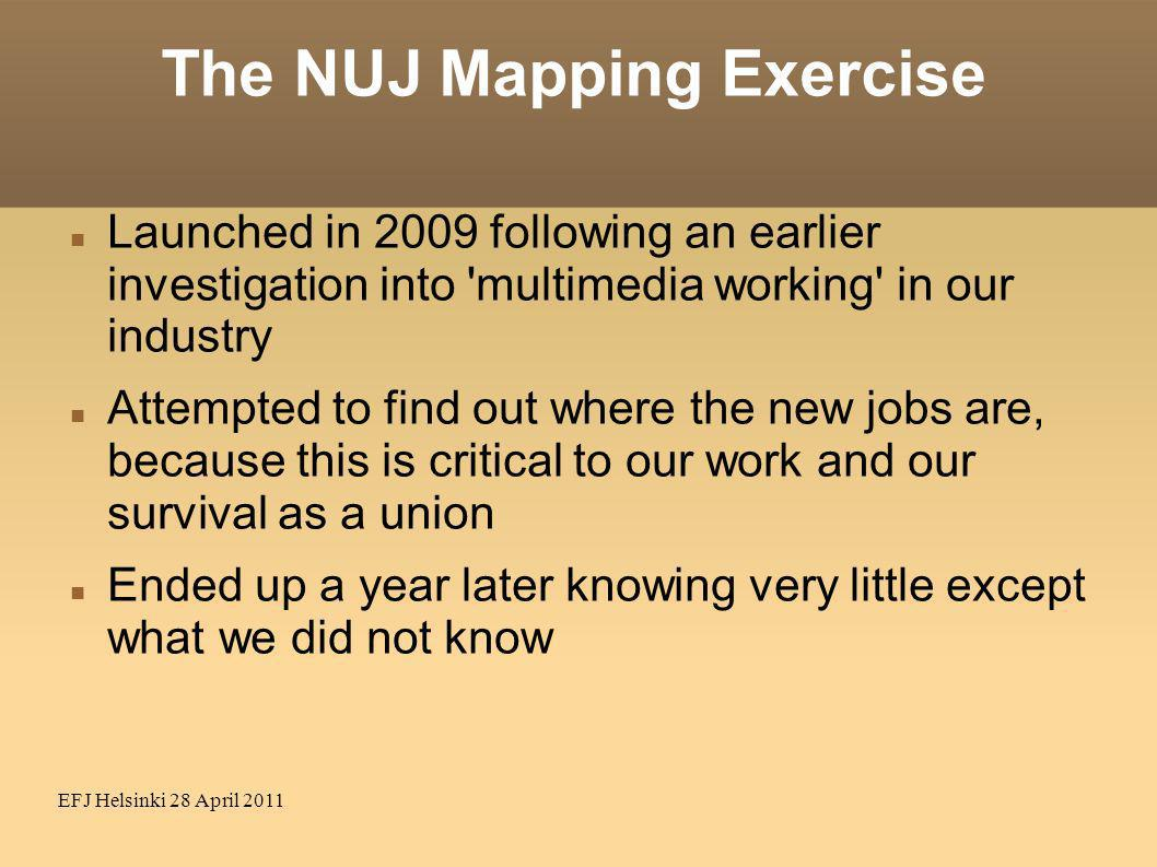 EFJ Helsinki 28 April 2011 The NUJ Mapping Exercise Launched in 2009 following an earlier investigation into 'multimedia working' in our industry Atte