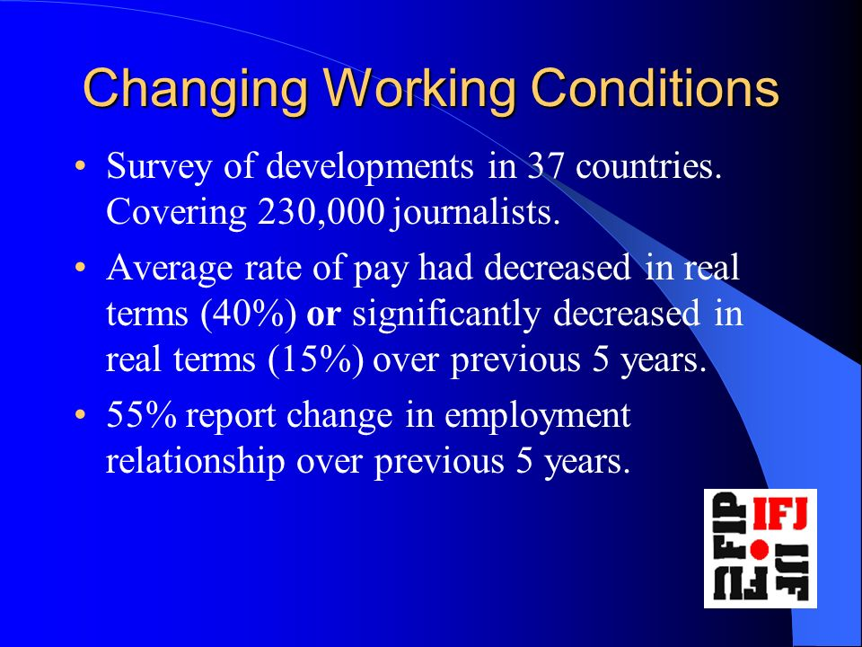 Changing Working Conditions Survey of developments in 37 countries.