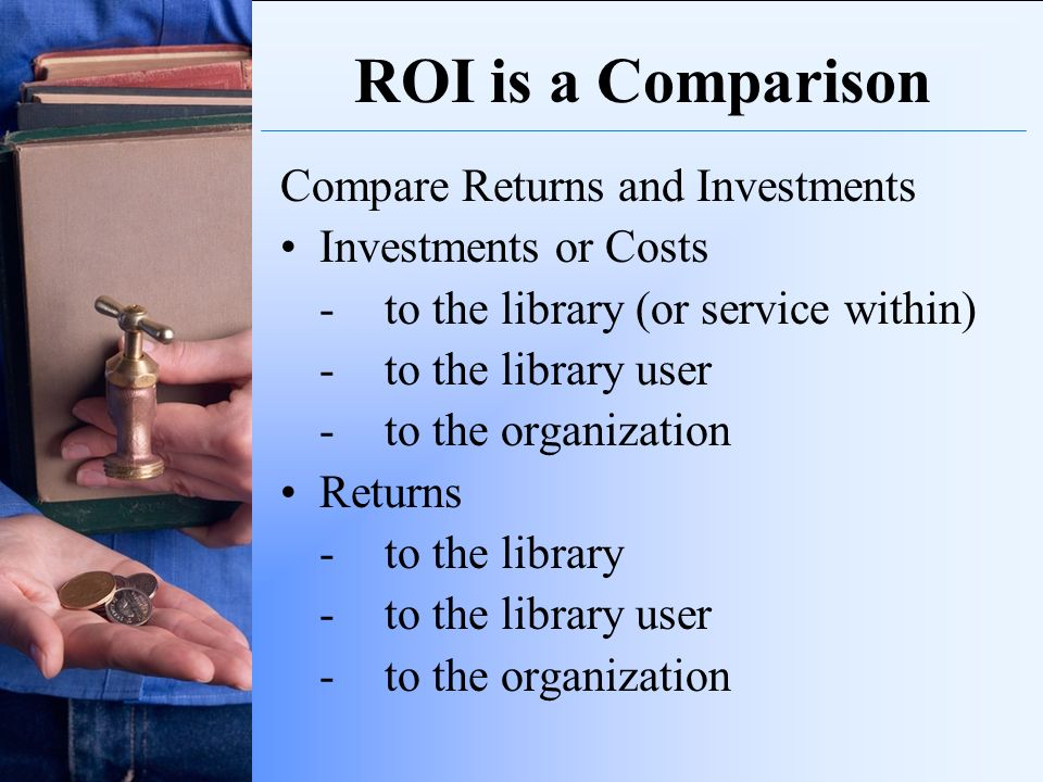 ROI is a Comparison Compare Returns and Investments Investments or Costs -to the library (or service within) -to the library user -to the organization