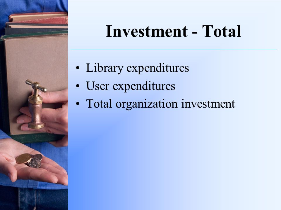 Investment - Total Library expenditures User expenditures Total organization investment