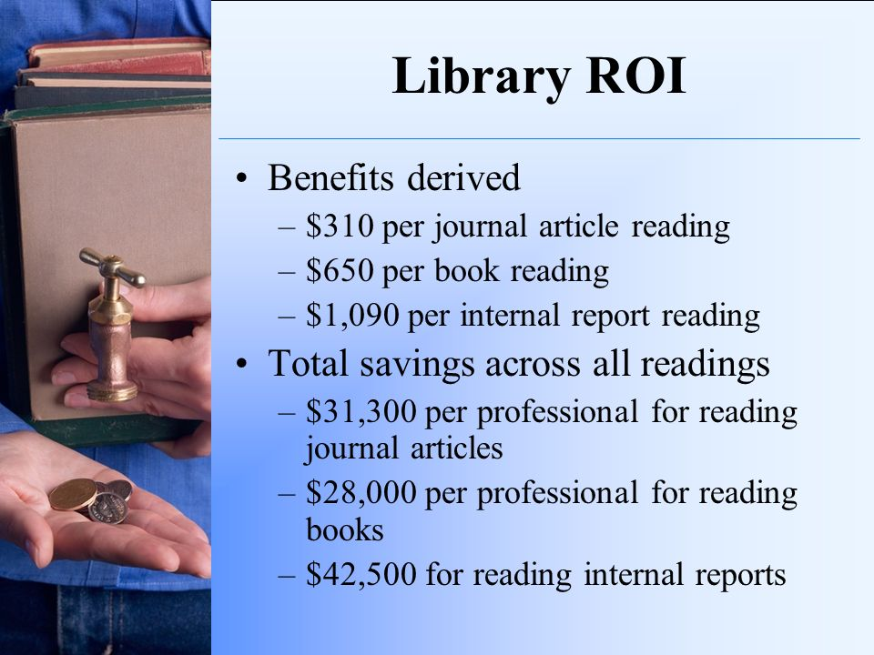 Library ROI Benefits derived –$310 per journal article reading –$650 per book reading –$1,090 per internal report reading Total savings across all rea