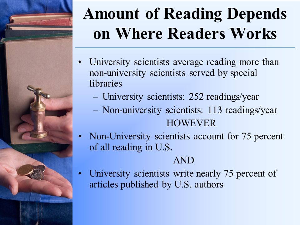 Amount of Reading Depends on Where Readers Works University scientists average reading more than non-university scientists served by special libraries