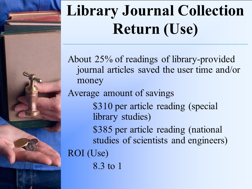 Library Journal Collection Return (Use) About 25% of readings of library-provided journal articles saved the user time and/or money Average amount of
