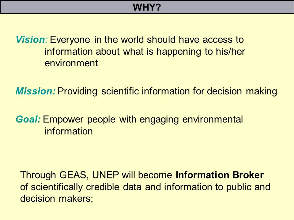 WHY? Vision: Everyone in the world should have access to information about what is happening to his/her environment Mission: Providing scientific info